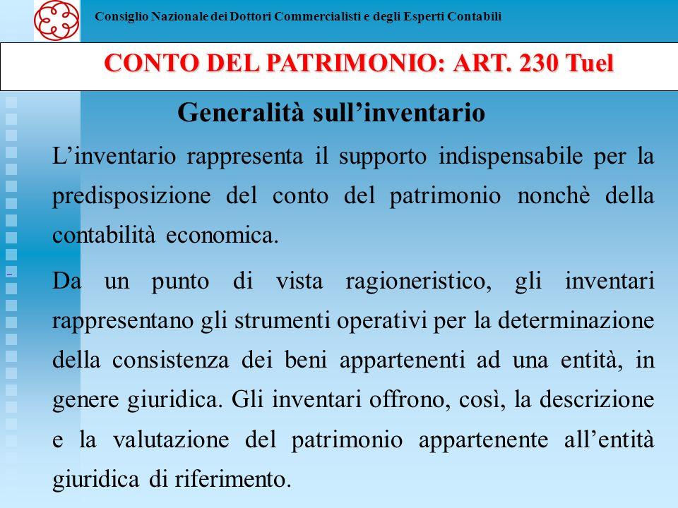 CONTO DEL PATRIMONIO: ART. 230 Tuel Generalità sull'inventario