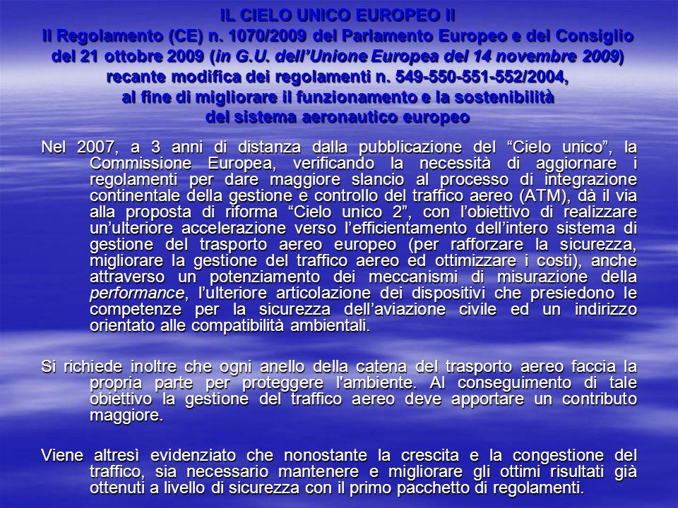 IL CIELO UNICO EUROPEO II Il Regolamento (CE) n