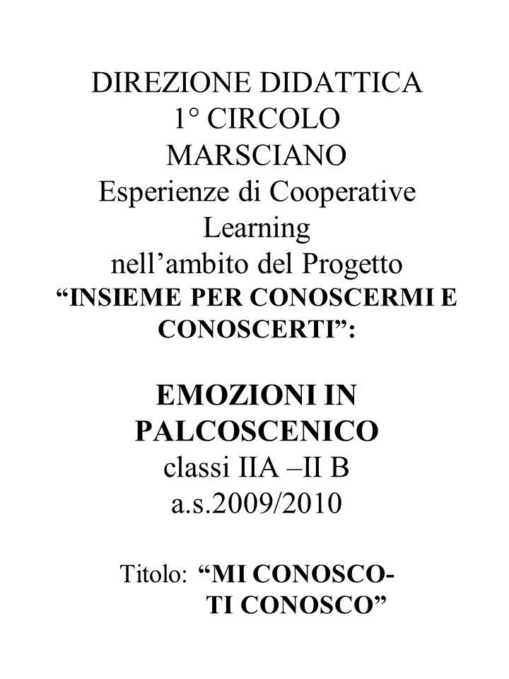 DIREZIONE DIDATTICA 1° CIRCOLO MARSCIANO Esperienze di Cooperative Learning nell'ambito del Progetto INSIEME PER CONOSCERMI E CONOSCERTI : EMOZIONI IN PALCOSCENICO classi IIA –II B a.s.2009/2010 Titolo: MI CONOSCO- TI CONOSCO