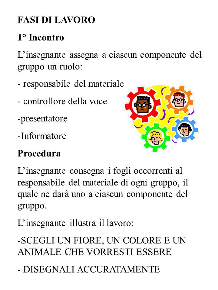 FASI DI LAVORO1° Incontro. L'insegnante assegna a ciascun componente del gruppo un ruolo: responsabile del materiale.