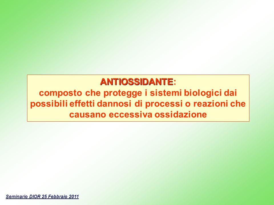 ANTIOSSIDANTE: composto che protegge i sistemi biologici dai possibili effetti dannosi di processi o reazioni che causano eccessiva ossidazione.