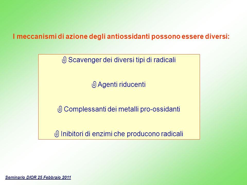 I meccanismi di azione degli antiossidanti possono essere diversi: