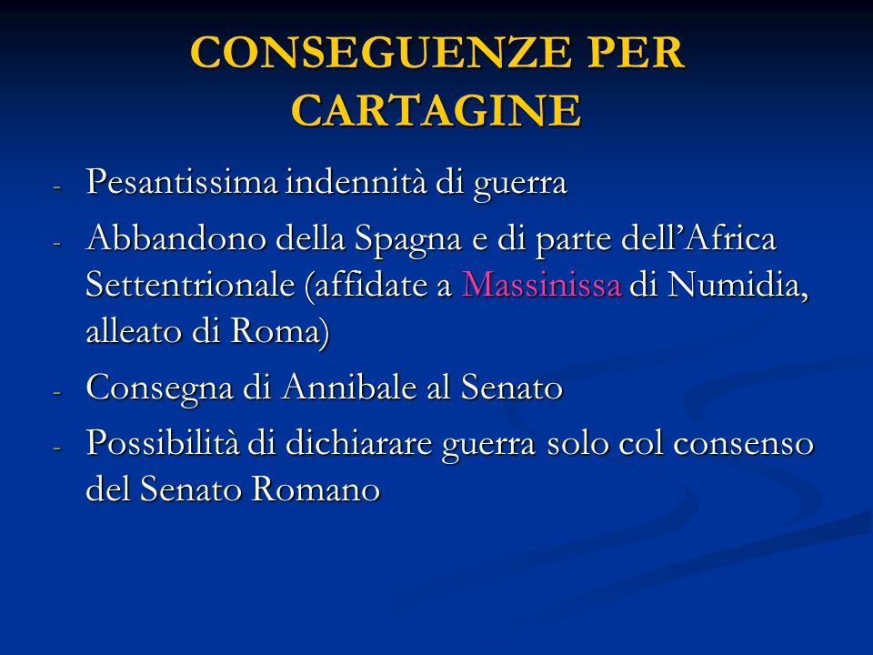 CONSEGUENZE PER CARTAGINE