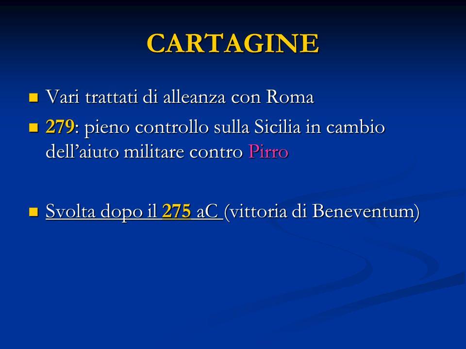 CARTAGINE Vari trattati di alleanza con Roma