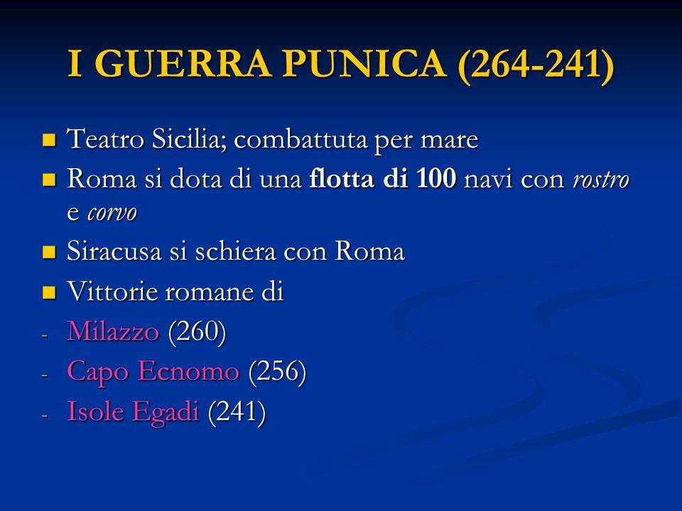 I GUERRA PUNICA (264-241) Teatro Sicilia; combattuta per mare