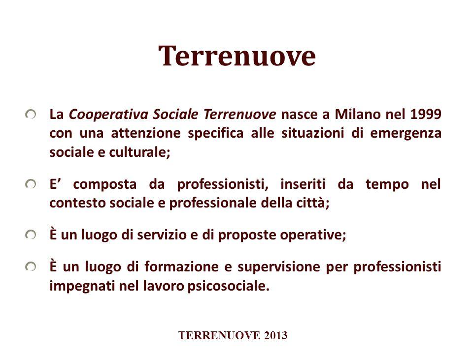 Terrenuove La Cooperativa Sociale Terrenuove nasce a Milano nel 1999 con una attenzione specifica alle situazioni di emergenza sociale e culturale;