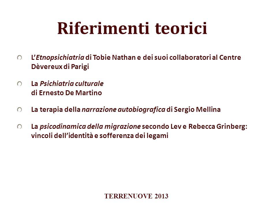 Riferimenti teoriciL'Etnopsichiatria di Tobie Nathan e dei suoi collaboratori al Centre Dèvereux di Parigi.