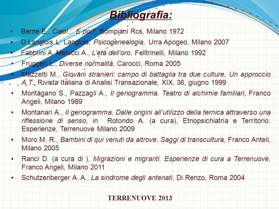 Bibliografia: Berne E., Ciao!... E poi , Bompiani Rcs, Milano 1972