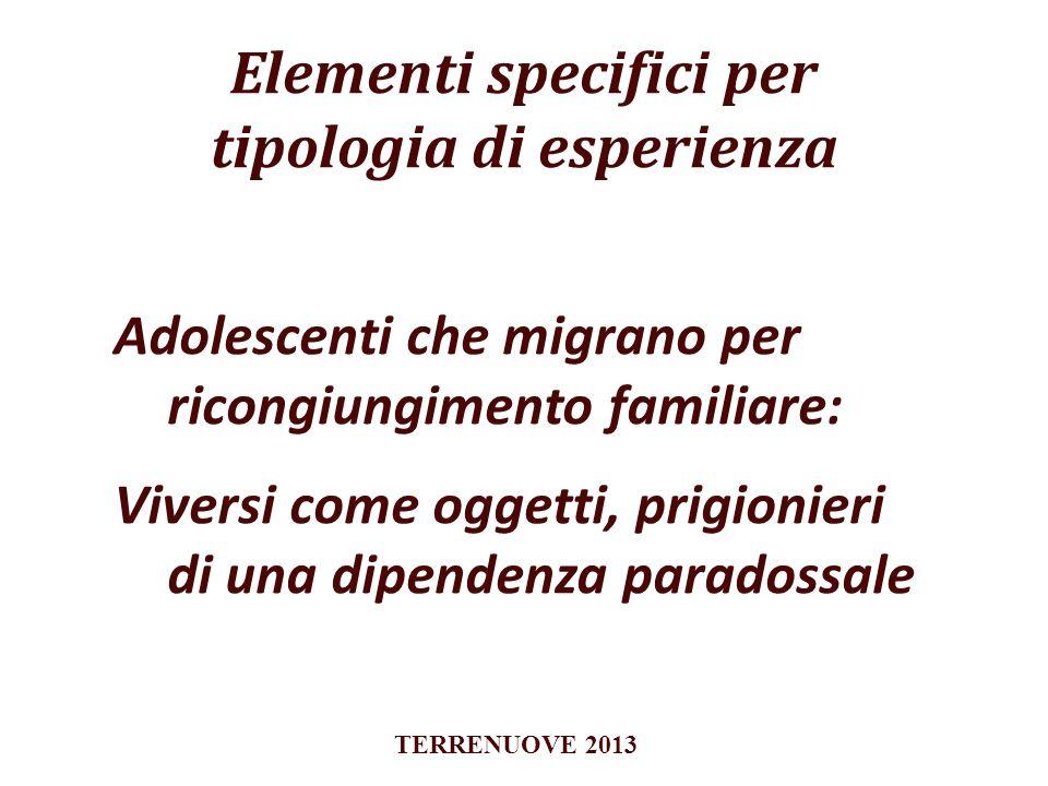 Elementi specifici per tipologia di esperienza