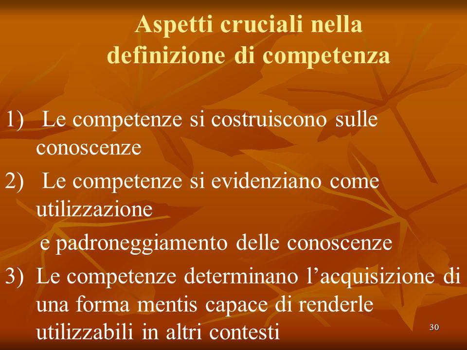 Aspetti cruciali nella definizione di competenza