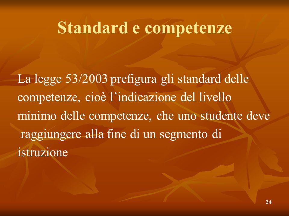 Standard e competenze La legge 53/2003 prefigura gli standard delle