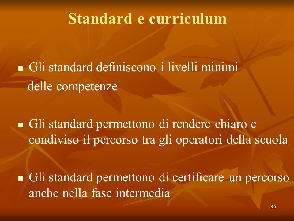 Standard e curriculum Gli standard definiscono i livelli minimi