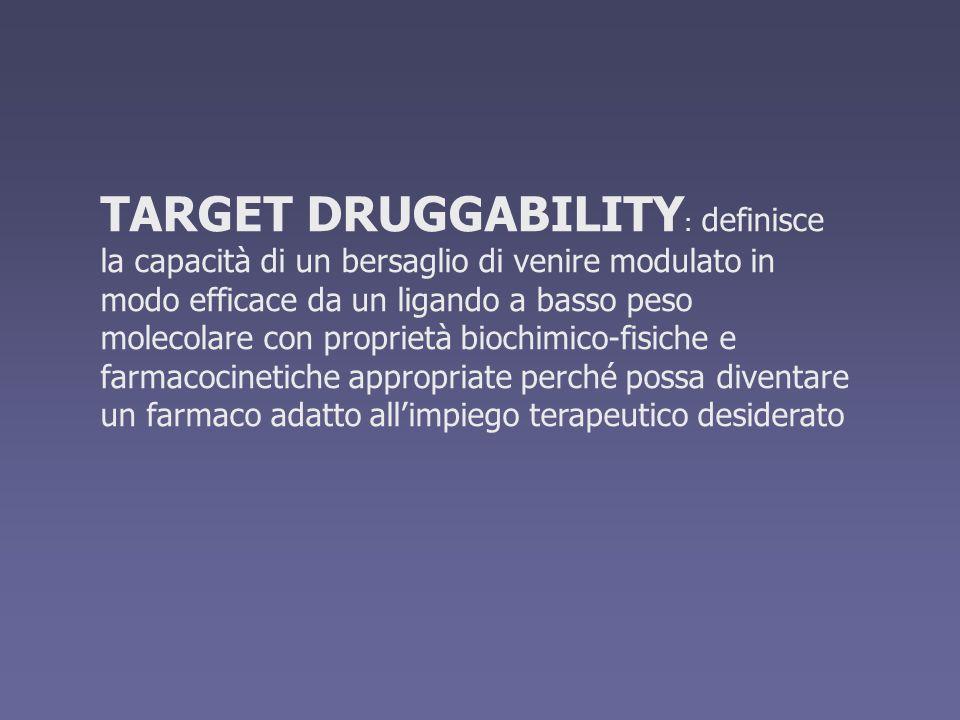 TARGET DRUGGABILITY: definisce la capacità di un bersaglio di venire modulato in modo efficace da un ligando a basso peso molecolare con proprietà biochimico-fisiche e farmacocinetiche appropriate perché possa diventare un farmaco adatto all'impiego terapeutico desiderato