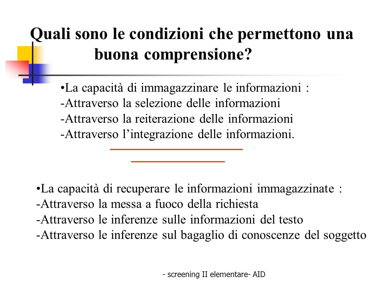 - screening II elementare- AID