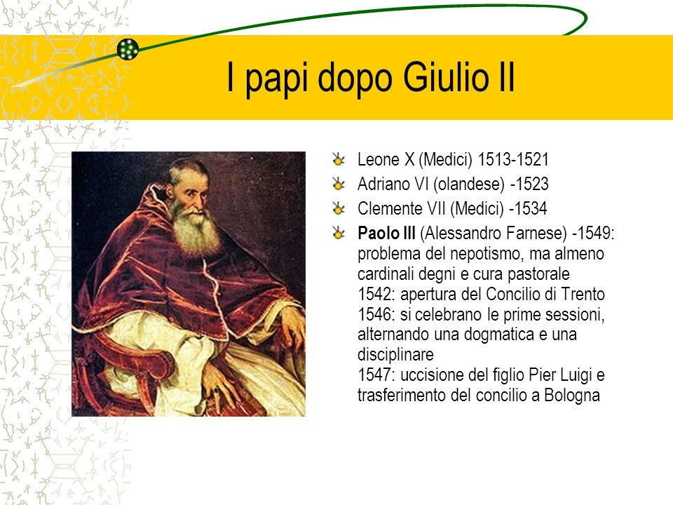 I papi dopo Giulio II Leone X (Medici) 1513-1521