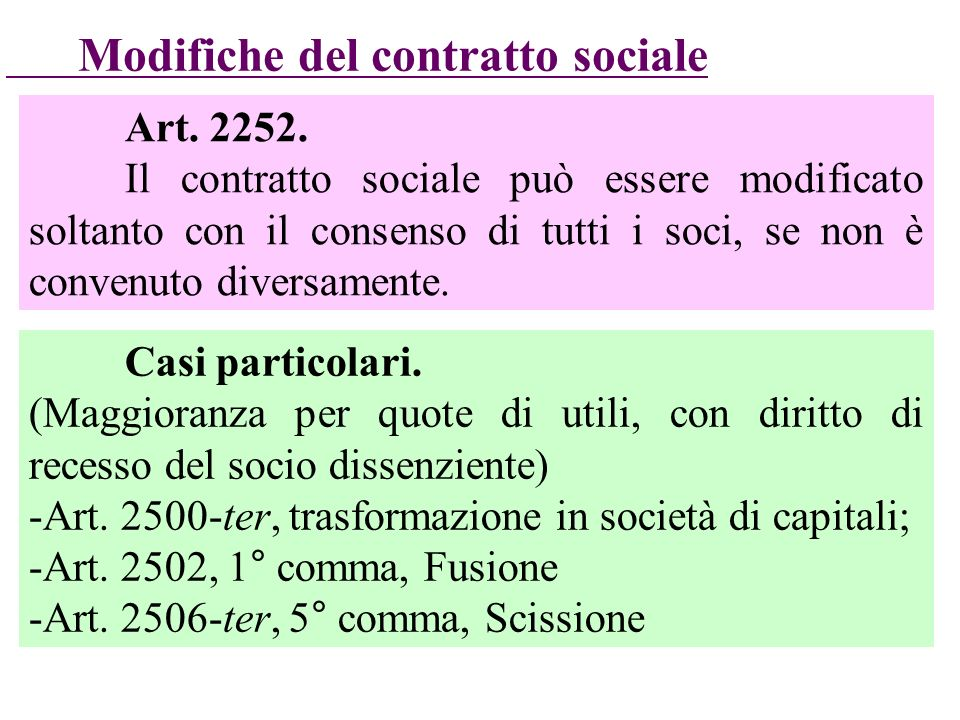 Modifiche del contratto sociale