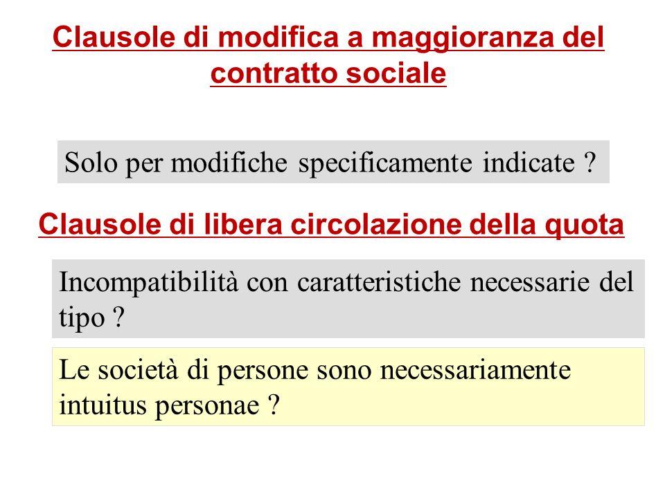 Clausole di modifica a maggioranza del contratto sociale