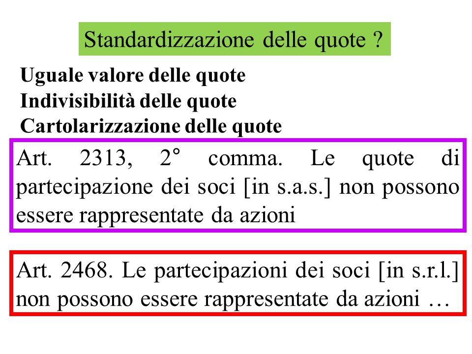 Standardizzazione delle quote