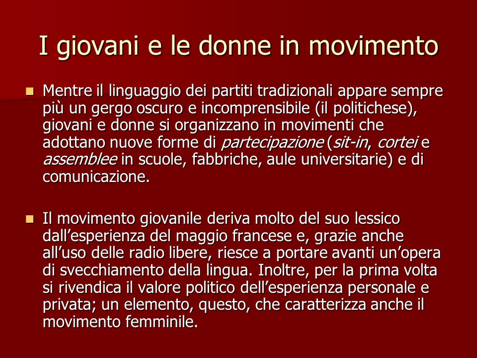 I giovani e le donne in movimento