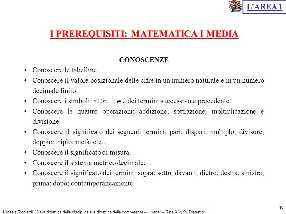 I PREREQUISITI: MATEMATICA I MEDIA