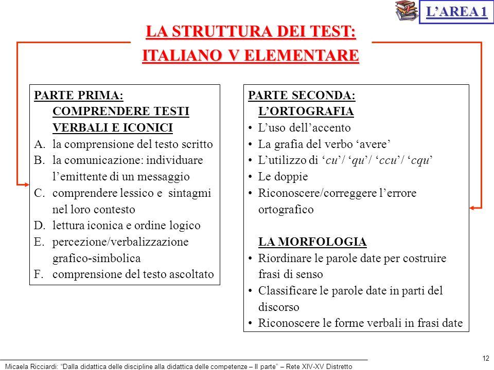 LA STRUTTURA DEI TEST: ITALIANO V ELEMENTARE