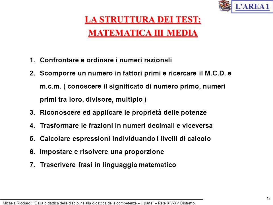 LA STRUTTURA DEI TEST: MATEMATICA III MEDIA