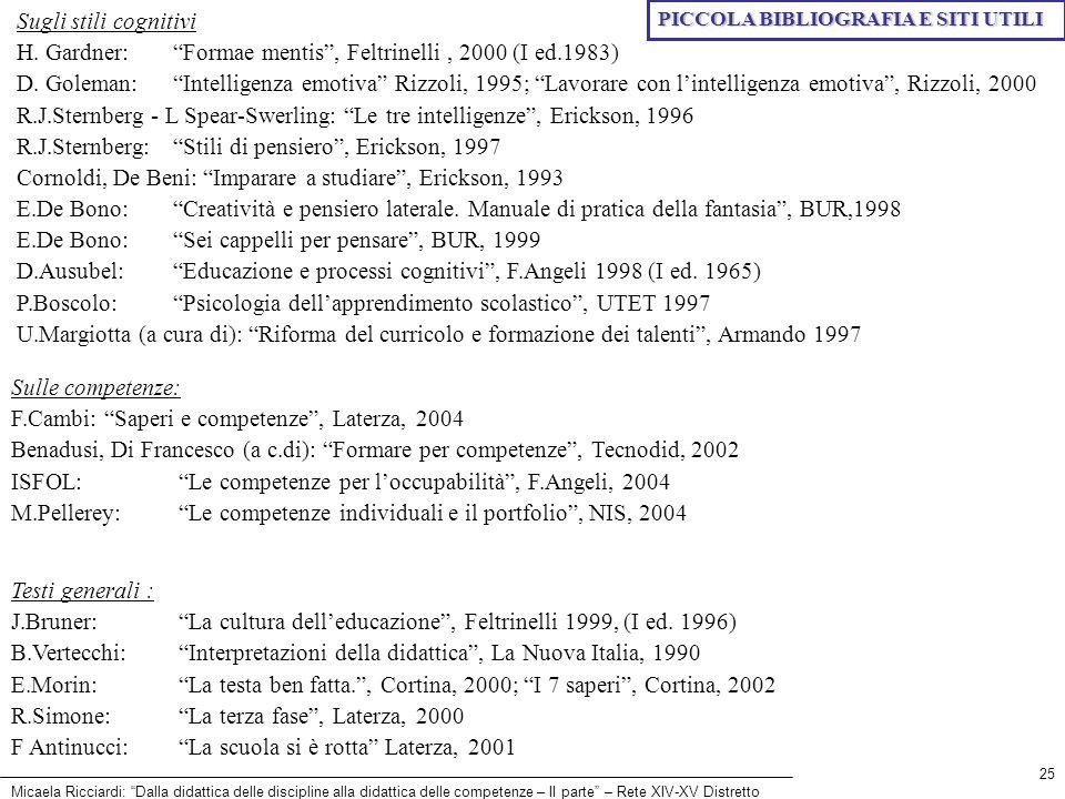 H. Gardner: Formae mentis , Feltrinelli , 2000 (I ed.1983)