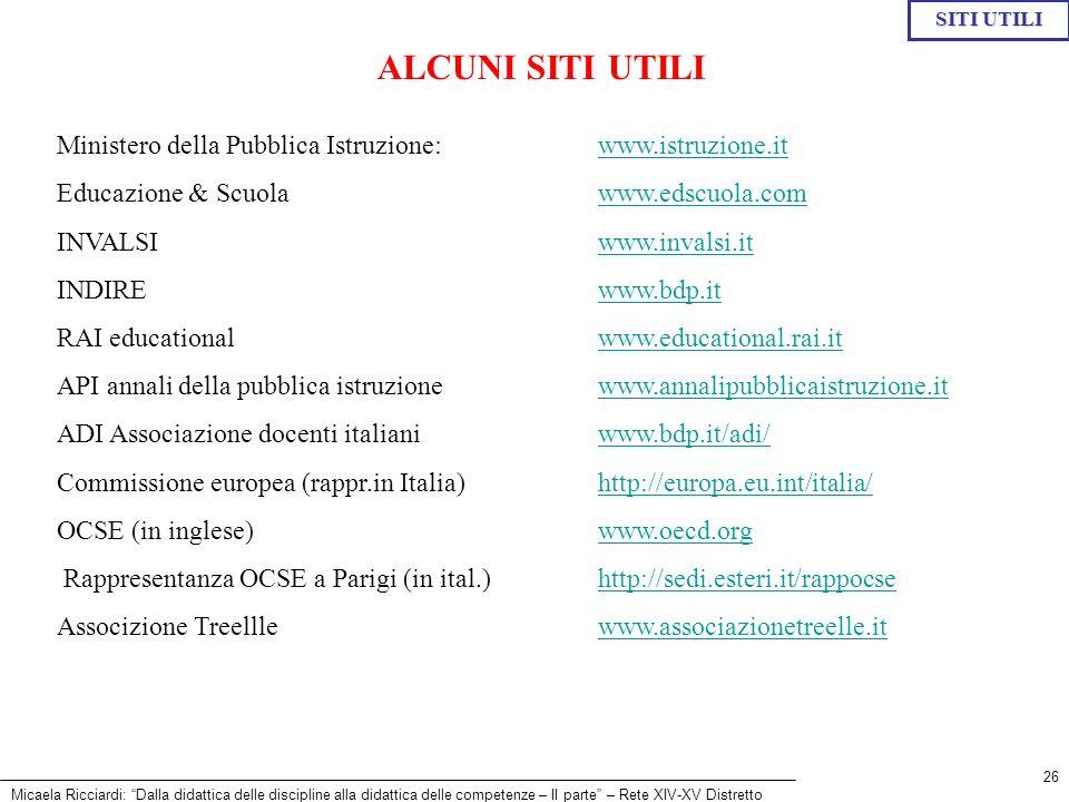 SITI UTILI ALCUNI SITI UTILI. Ministero della Pubblica Istruzione: www.istruzione.it. Educazione & Scuola www.edscuola.com.