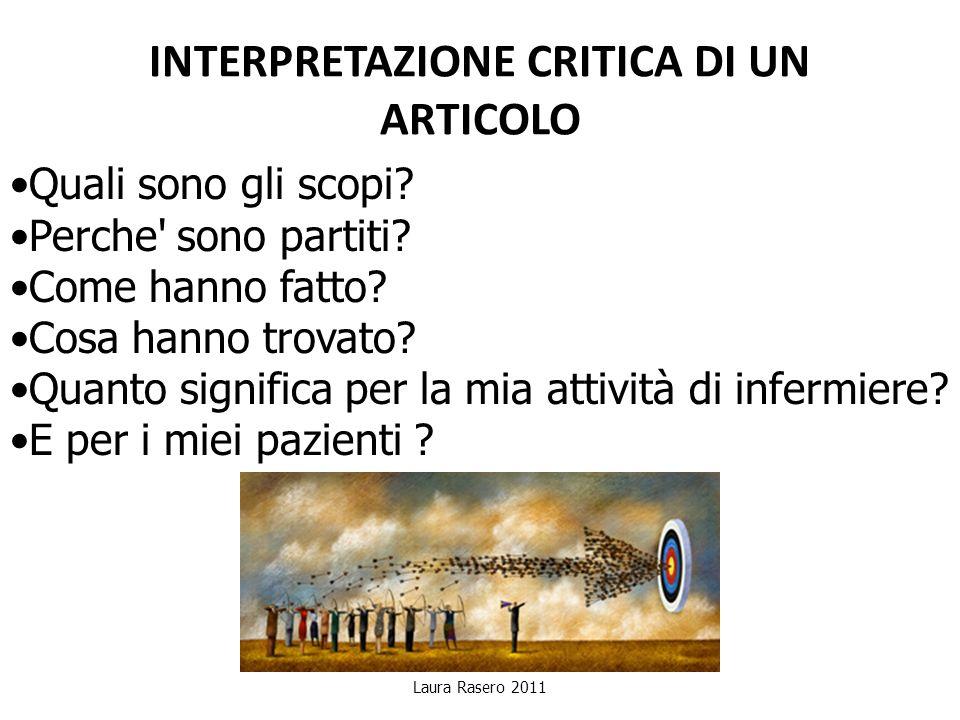 INTERPRETAZIONE CRITICA DI UN ARTICOLO