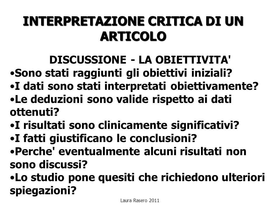 INTERPRETAZIONE CRITICA DI UN ARTICOLO DISCUSSIONE - LA OBIETTIVITA