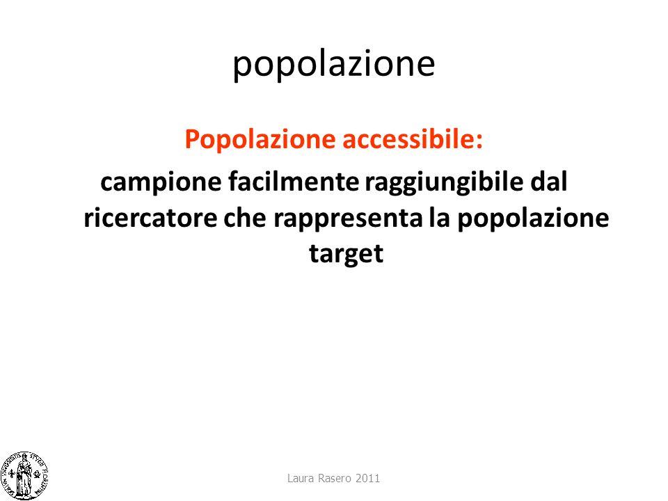 popolazione Popolazione accessibile: campione facilmente raggiungibile dal ricercatore che rappresenta la popolazione target