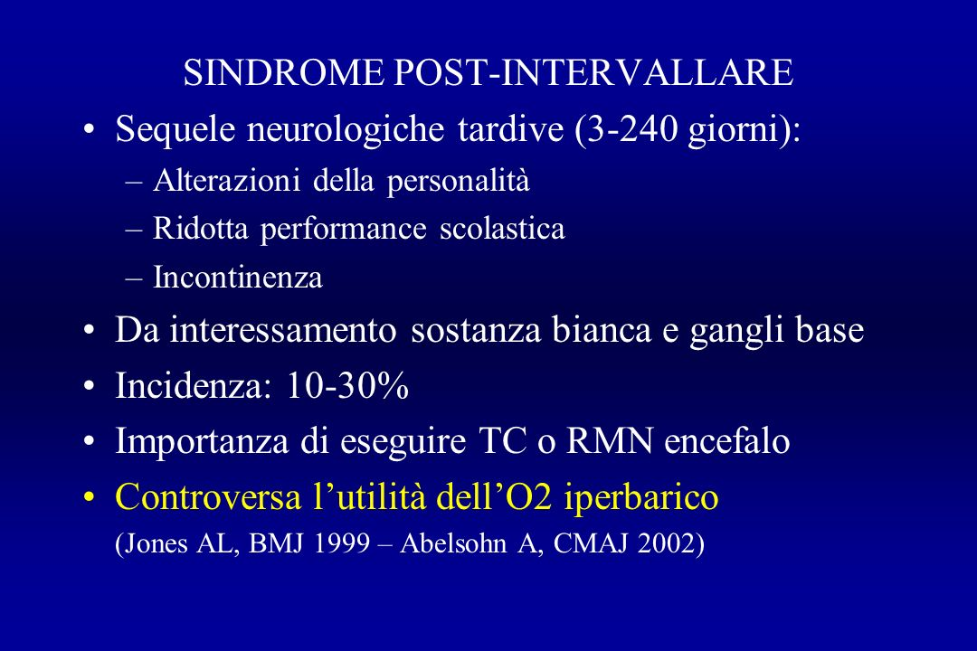 SINDROME POST-INTERVALLARE