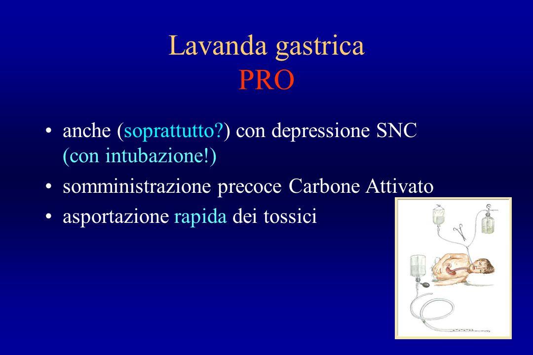 Lavanda gastrica PRO anche (soprattutto ) con depressione SNC (con intubazione!) somministrazione precoce Carbone Attivato.