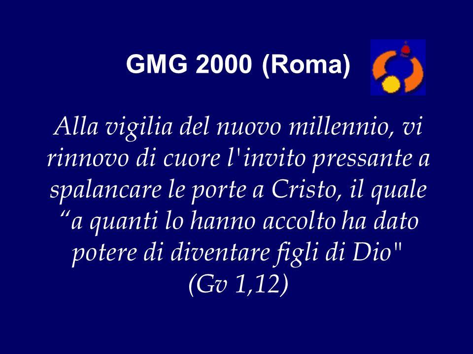 GMG 2000 (Roma) Alla vigilia del nuovo millennio, vi rinnovo di cuore l invito pressante a spalancare le porte a Cristo, il quale a quanti lo hanno accolto ha dato potere di diventare figli di Dio (Gv 1,12)
