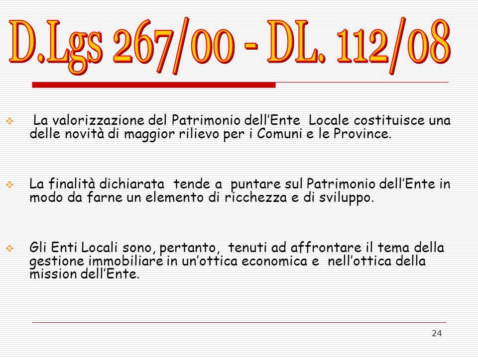 D.Lgs 267/00 - DL. 112/08