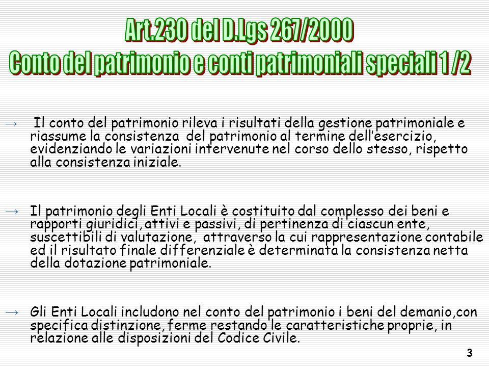 Conto del patrimonio e conti patrimoniali speciali 1 /2