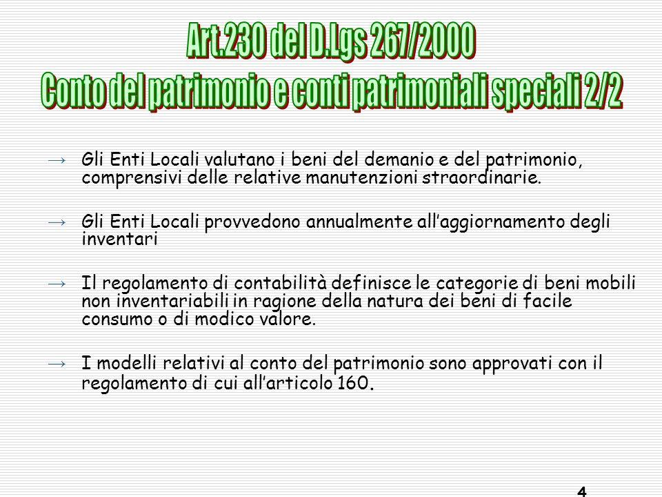 Conto del patrimonio e conti patrimoniali speciali 2/2
