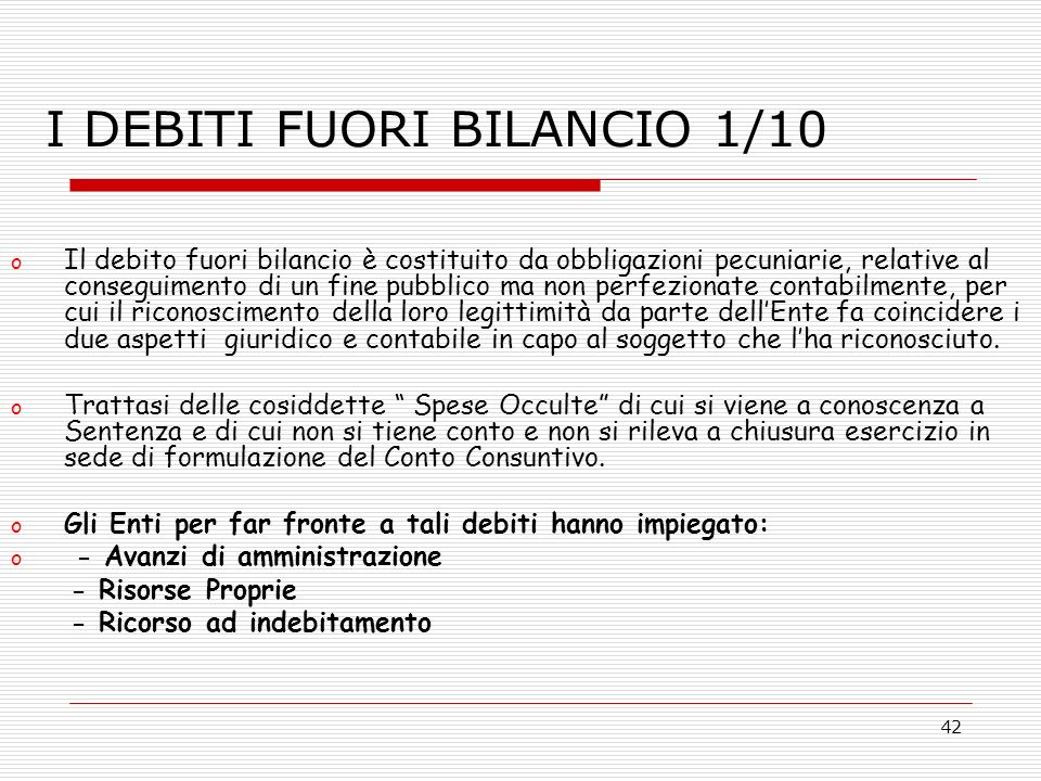 I DEBITI FUORI BILANCIO 1/10