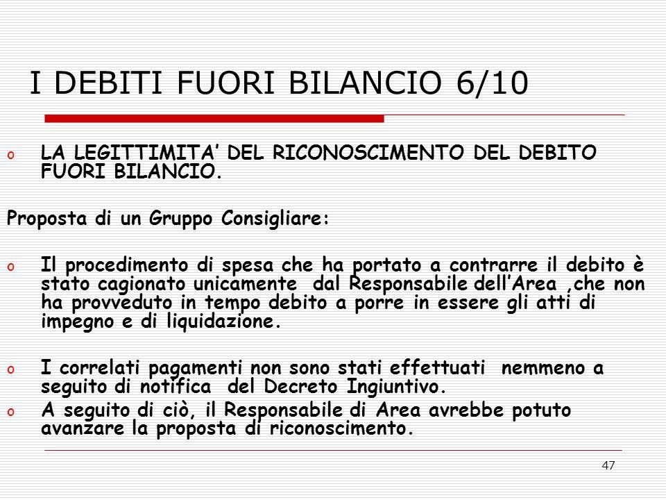 I DEBITI FUORI BILANCIO 6/10