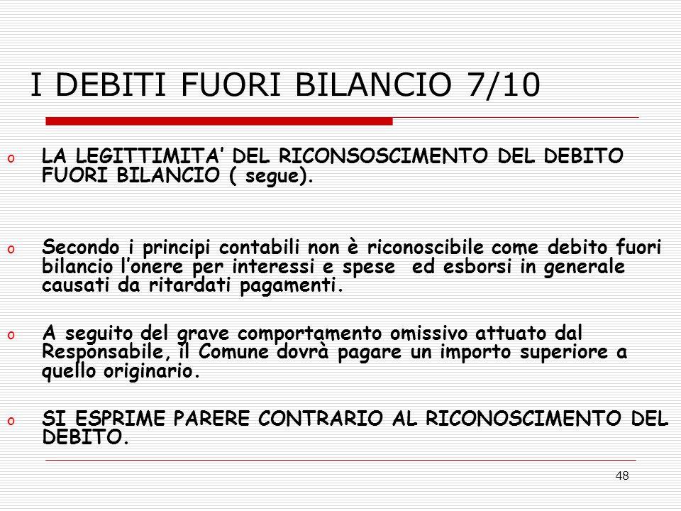 I DEBITI FUORI BILANCIO 7/10