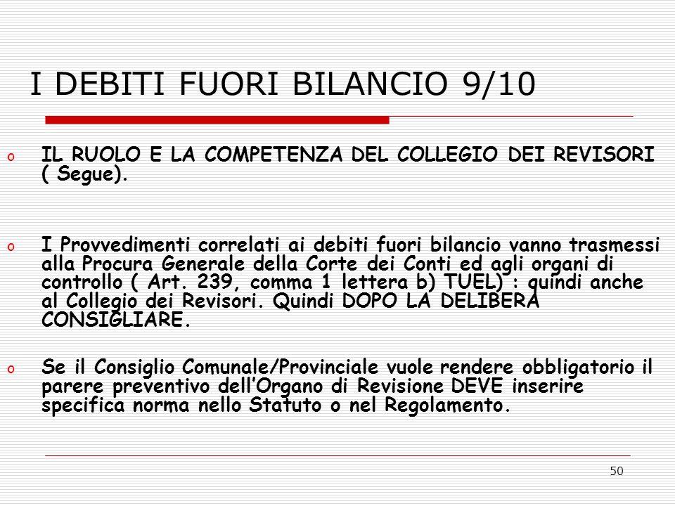 I DEBITI FUORI BILANCIO 9/10