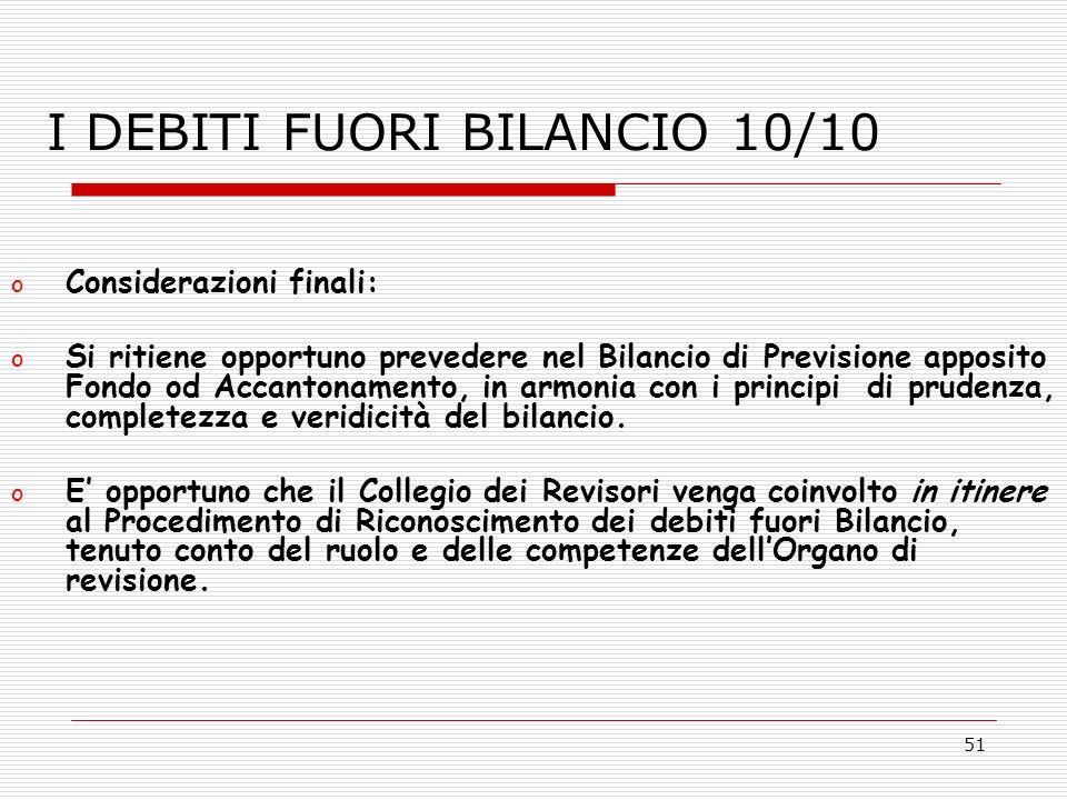 I DEBITI FUORI BILANCIO 10/10