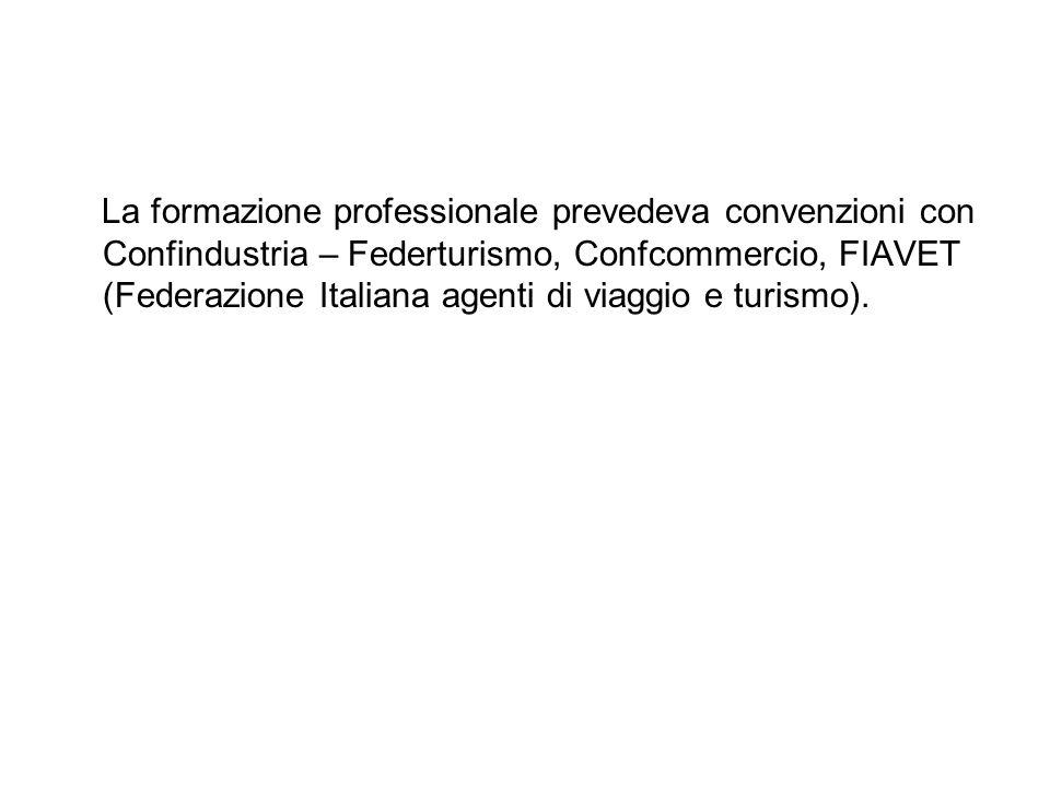 La formazione professionale prevedeva convenzioni con Confindustria – Federturismo, Confcommercio, FIAVET (Federazione Italiana agenti di viaggio e turismo).
