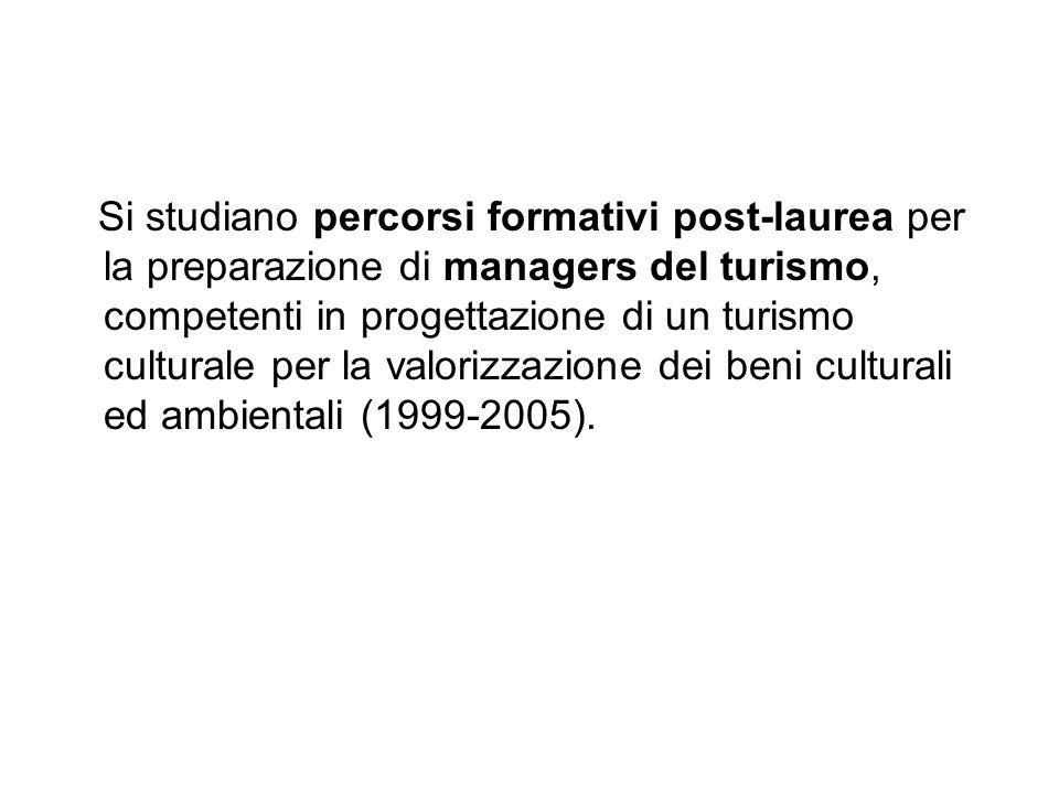 Si studiano percorsi formativi post-laurea per la preparazione di managers del turismo, competenti in progettazione di un turismo culturale per la valorizzazione dei beni culturali ed ambientali (1999-2005).