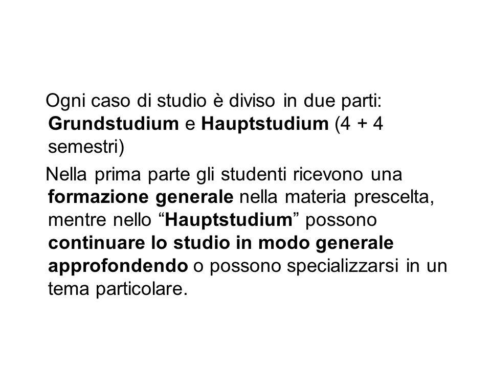 Ogni caso di studio è diviso in due parti: Grundstudium e Hauptstudium (4 + 4 semestri)