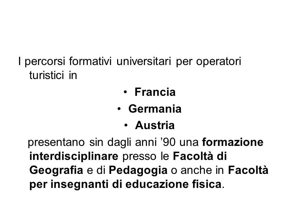 I percorsi formativi universitari per operatori turistici in