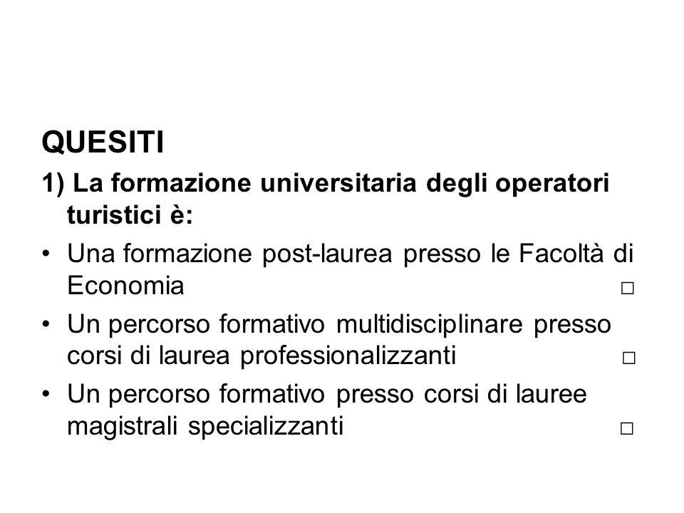 QUESITI 1) La formazione universitaria degli operatori turistici è: