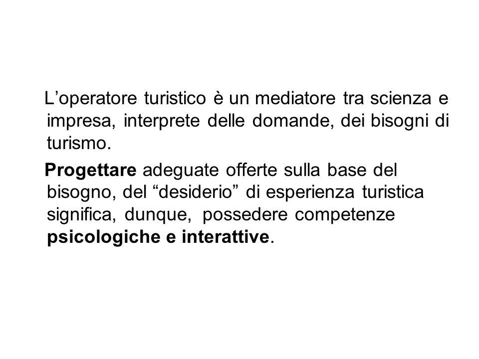 L'operatore turistico è un mediatore tra scienza e impresa, interprete delle domande, dei bisogni di turismo.