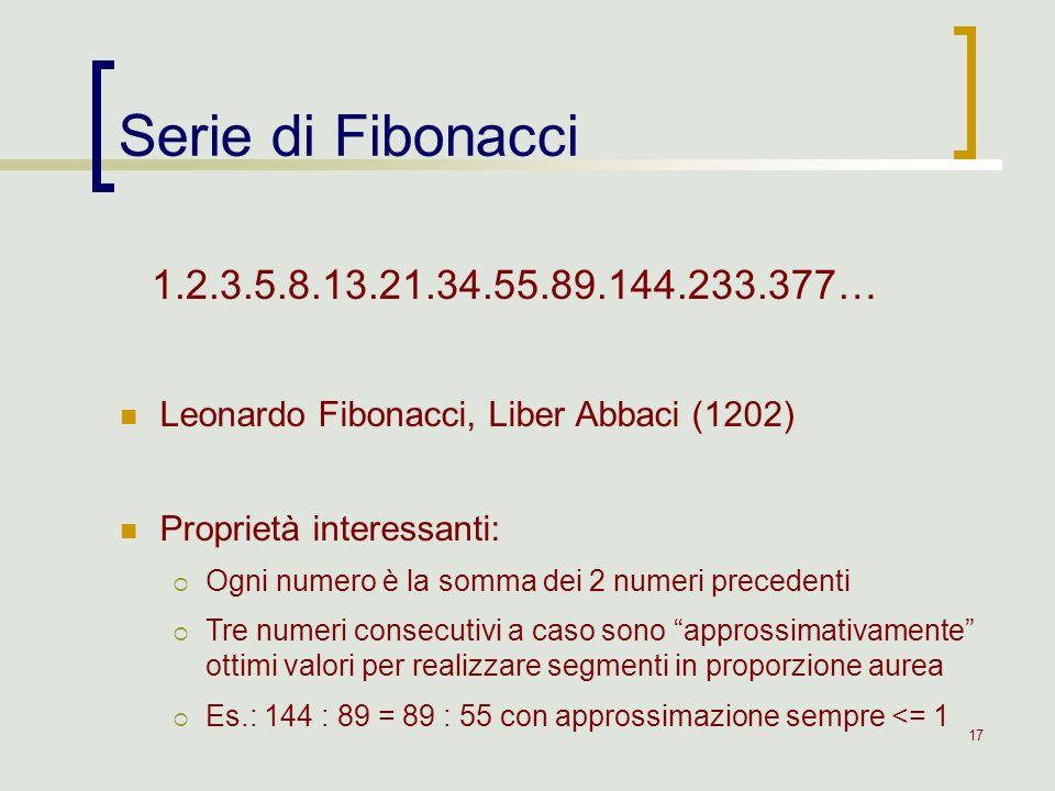 Serie di Fibonacci 1.2.3.5.8.13.21.34.55.89.144.233.377… Leonardo Fibonacci, Liber Abbaci (1202) Proprietà interessanti: