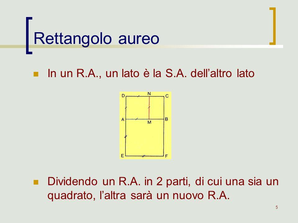 Rettangolo aureo In un R.A., un lato è la S.A. dell'altro lato